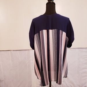 Absolute Angel Tops - Navy blue and white striped top. Plus size